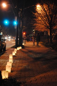Each year, around the anniversary of Nancy Dunning's death, neighbors and friends in Del Ray remembers her with the annual lighting of the luminaries (Derrick Perkins)