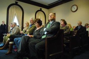 Residents look on as speakers debate the much maligned waterfront plan Saturday. (Derrick Perkins)