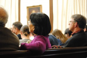 Residents and onlookers packed City Hall Saturday for a public hearing on the city's waterfront plan. (Derrick Perkins)