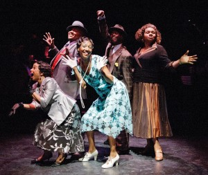 "From left, Debra Walton, James Alexander, Zurin Villanueva, James T. Lane and Aisha de Haas are part of a small but powerful cast in ""Josephine Tonight"" at MetroStage. (C. Stanley Photography)"