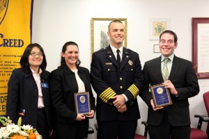Joshua Weissman, right, stands with Fire chief Adam Thiel during an awards ceremony with the Alexandria Jaycees. (Courtesy photo)