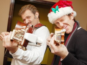 "Three-time Tony Award nominee Mark Kudisch (left) and Astaire Award nominee Jeffry Denman pair up in ""Holiday Guys,"" a light-hearted take on the festive season, complete with song, dance and silliness. The show runs for a limited time only at Signature Theatre. (Photo/ Signature Theatre)"