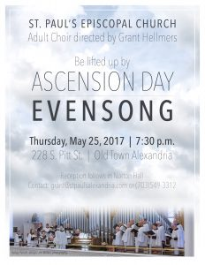 St. Paul's Ascension Day Choral Evensong @ St. Paul's Episcopal Church | Alexandria | Virginia | United States