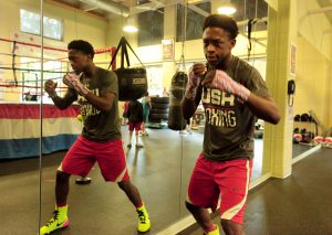 KeyShawn Davis shadowboxing at the Alexandria Boxing Club (Photo/James Cullum)