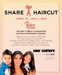 Hair Cuttery's Share-A-Haircut for Victims of Domestic Violence Apr 30-May 1 @ Alexandria | Alexandria | Virginia | United States