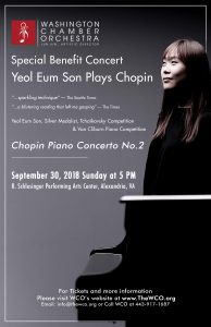 Washington Chamber Orchestra with Pianist Yeol Eum Son @ R. Schlesinger Performing Arts Center | Alexandria | Virginia | United States